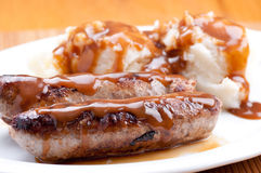 Sausage bangers and mashed potatoes Royalty Free Stock Photo