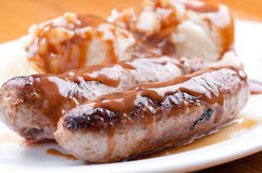 Sausage bangers and mashed potatoes Royalty Free Stock Photography