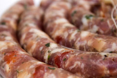 Sausage. Barbecue of sausage in the forest Stock Photography