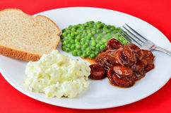 Sausage BBQ with Potato Salad Royalty Free Stock Photography