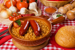 Sausage with beans Stock Photography
