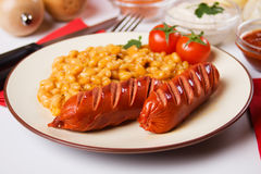 Sausage and beans Royalty Free Stock Image