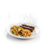 Sausage, Beans and Chips Royalty Free Stock Photo