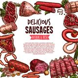 Sausage, beef and pork meat delicatessen banner. Sausage, beef and pork meat delicatessen vector sketch banner. Ham, salami, barbecue sausage, meat steak, bacon Royalty Free Stock Image