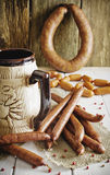 Sausage and beer Stock Photos