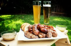 Sausage and beer Stock Photography