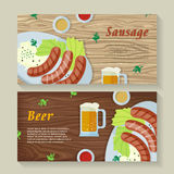 Sausage and Beer Web Banners in Flat Design Stock Photography