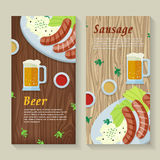 Sausage and Beer Web Banners in Flat Design Stock Photos