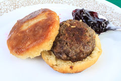 Sausage Biscuit with Jelly Stock Photo