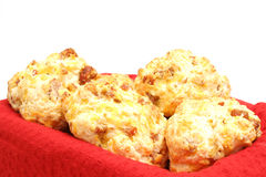 Sausage biscuit on red angle. Picture of a sausage biscuit on red angle Royalty Free Stock Image
