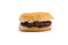A Sausage biscuit on white Royalty Free Stock Photos