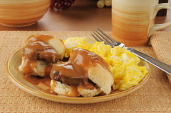 Sausage and biscuits with scrambled eggs Royalty Free Stock Photo