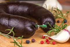 Sausage with blood, and herbs Stock Photography