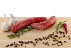 Sausage on a board Royalty Free Stock Photography