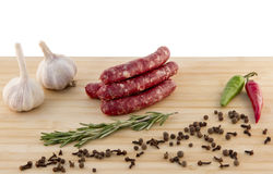 Sausage on a board Royalty Free Stock Photos