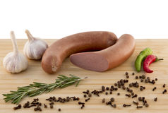 Sausage on a board Royalty Free Stock Image