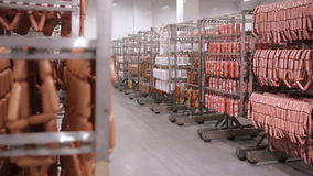 Sausage, bratwurst, salami in a warehouse. stock video footage