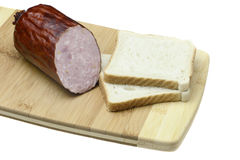 Sausage and bread. Royalty Free Stock Images