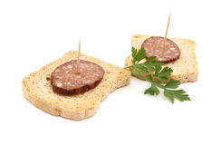 Sausage on bread Royalty Free Stock Photography