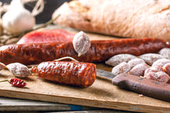 Sausage and bread Stock Photography