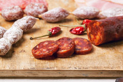 Sausage and bread Royalty Free Stock Images