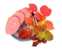 Sausage with bread. Sandwich with branch of autumn raspberry on white background Royalty Free Stock Photos