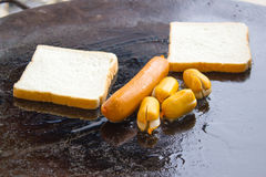 Sausage with bread Stock Image