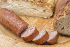 Sausage, bread and cheese Stock Photography