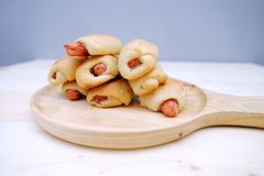 Sausage Bread in Dish. On Table Wood Stock Images