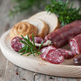 Sausage and bread Royalty Free Stock Photography