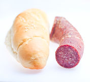 Sausage and bread meat food  Royalty Free Stock Images