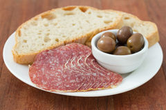 Sausage with bread Royalty Free Stock Images