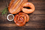 Sausage, bread and spices Royalty Free Stock Photos