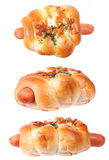 Sausage bun bakery isolated Royalty Free Stock Photography