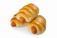 Sausage buns isolated Stock Photos