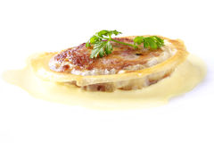 Sausage with butter and cheese. Isolated on white Stock Photos