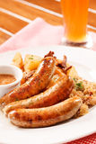 Sausage with cabbage Royalty Free Stock Photography