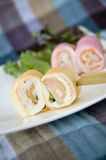 Sausage canape on white plate Royalty Free Stock Photo