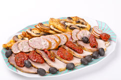 Sausage with champignons Stock Image