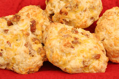 Sausage cheese biscuit in basket upclose royalty free stock photo