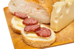 Sausage cheese and bread Royalty Free Stock Photos