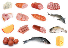 Sausage and cheese collection Royalty Free Stock Photography