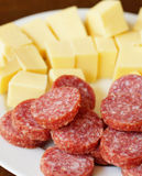 Sausage and cheese Royalty Free Stock Photos
