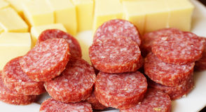 Sausage and cheese Royalty Free Stock Photo