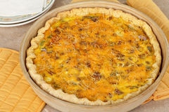 Sausage and Cheese Quiche Royalty Free Stock Photography