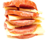 Sausage and cheese slices Royalty Free Stock Photo