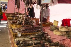 Sausage and cheese store in the flea market in Spain Royalty Free Stock Photos