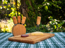 Sausage and cheese on the table Royalty Free Stock Image