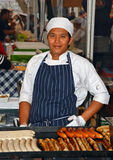 Sausage Chef at Saturday Morning Market in The Rocks Sydney stock images