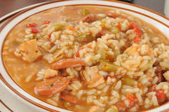 Sausage and chicken gumbo closeup Royalty Free Stock Photos